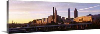 Cleveland Ohio city skyline at dusk