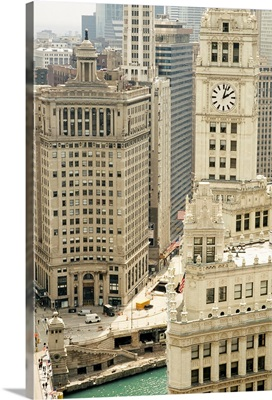Clock tower along a river, Wrigley Building, Chicago River, Chicago, Illinois