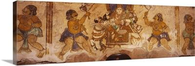 Close-up of a fresco on a wall, Tamil Nadu, India