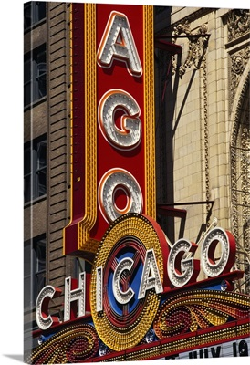 Close-up of a theater sign, Chicago Theater, Chicago, Illinois