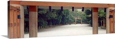 Close-up of columns of a temple, Shimogamo Shrine, Kyoto Prefecture, Honshu, Japan