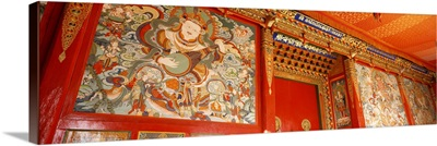 Close-up of paintings in a monastery, Tongren, Qinghai, China
