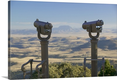 Close-up of two telescopes at an observatory, McDonald Observatory, Fort Davis, Texas