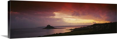 Clouds over an island, St. Michaels Mount, Cornwall, England
