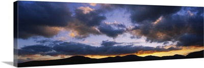 Clouds over mountains at dusk, Stowe, Lamoille County, Vermont