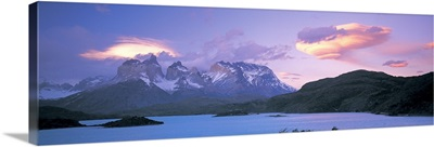 Clouds over mountains, Towers of Paine, Torres del Paine National Park, Chile