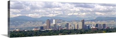 Clouds over skyline and mountains, Denver, Colorado