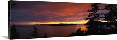 Clouds over the sea at dusk, Rosario Strait, San Juan Islands, Fidalgo Island, Skagit County, Washington State