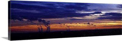 Coal fired power stations at sunset Drax Power Station Eggborough Power Station Ferrybridge Power Station Yorkshire England