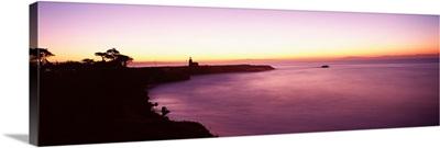 Coast with a lighthouse in the background, Santa Cruz, Santa Cruz County, California,