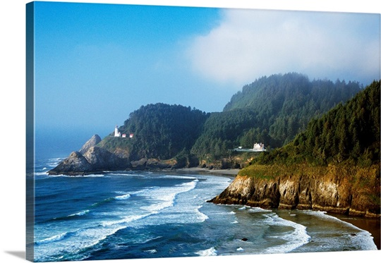 Coastal Scene In Mist With Heceta Head Lighthouse