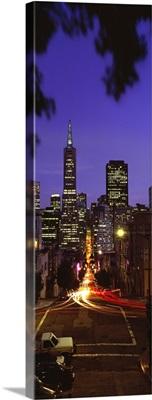 Colonial building light-up at night, Transamerica Pyramid And Columbus Tower, San Francisco, California