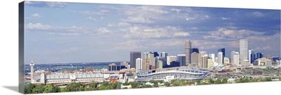 Colorado, Denver, Invesco Stadium, High angle view of the city