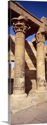 Columns in a temple, Temple Of Isis, Philae, Agilika Island, Egypt