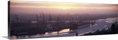 Container ships in the river, Elbe River, Landungsbrucken, Hamburg Harbour, Hamburg, Germany