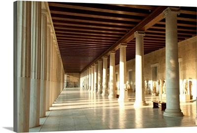 Corridor of a building, Stoa of Attalos, Athens, Attica, Greece