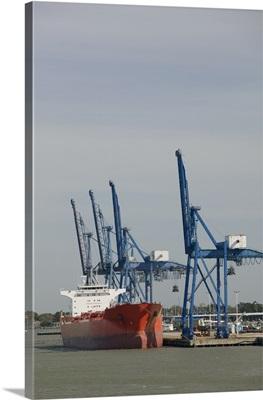 Cranes at a commercial dock, Galveston, Texas