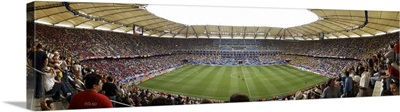 Crowd in a stadium to watch a soccer match, Hamburg, Germany