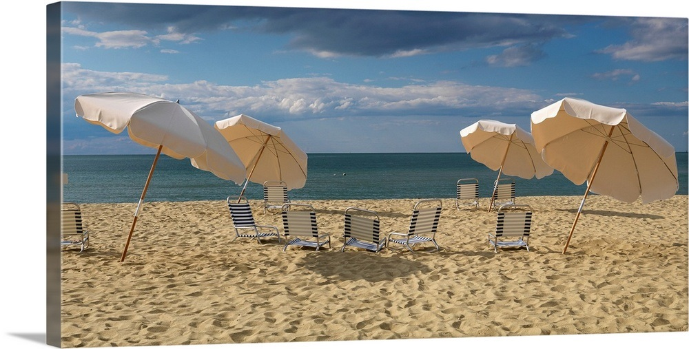 Deck Chairs And Beach Umbrellas On The Jetties Nantucket Machusetts Wall Art