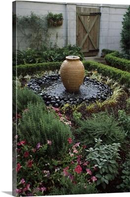 Decorative urn in a garden, Savannah, Chatham County, Georgia,