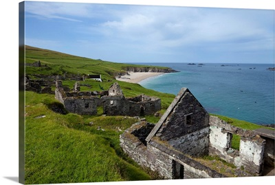 Deserted Cottages on Great Blasket Island, County Kerry, Ireland