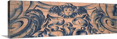 Detail of Azulejo art on the wall of a church, Carmo Church, Porto, Portugal