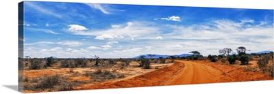 Dirt road passing through Tsavo East National Park, Kenya
