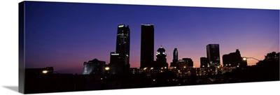 Downtown skyline at night, Oklahoma City, Oklahoma, USA