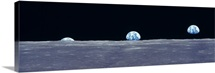 Earth Rise over the Lunar Surface
