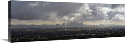 Elevated view of city at dusk, Downtown Los Angeles, Los Angeles, California