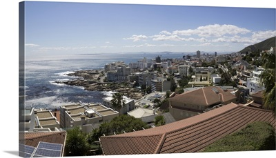 Elevated view of house on coast, Bantry Bay, Cloud, Cape Town, South Africa