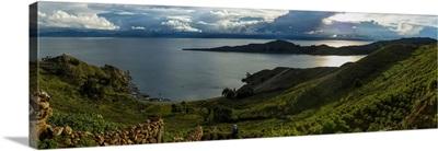 Elevated view of islands in a lake, Isla Del Sol, Lake Titicaca, Bolivia