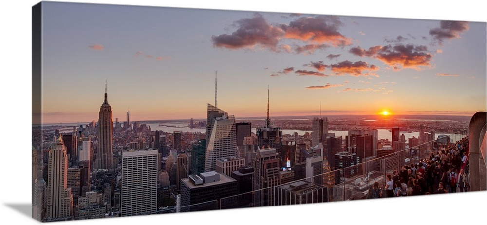 Elevated View Of Manhattan From Rockefeller Center At Sunset, NYC