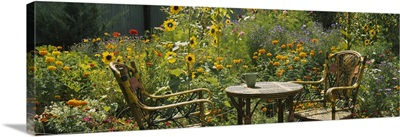 Empty chairs and a table in a garden, Taos, New Mexico