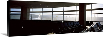 Empty seats in an airport lounge,