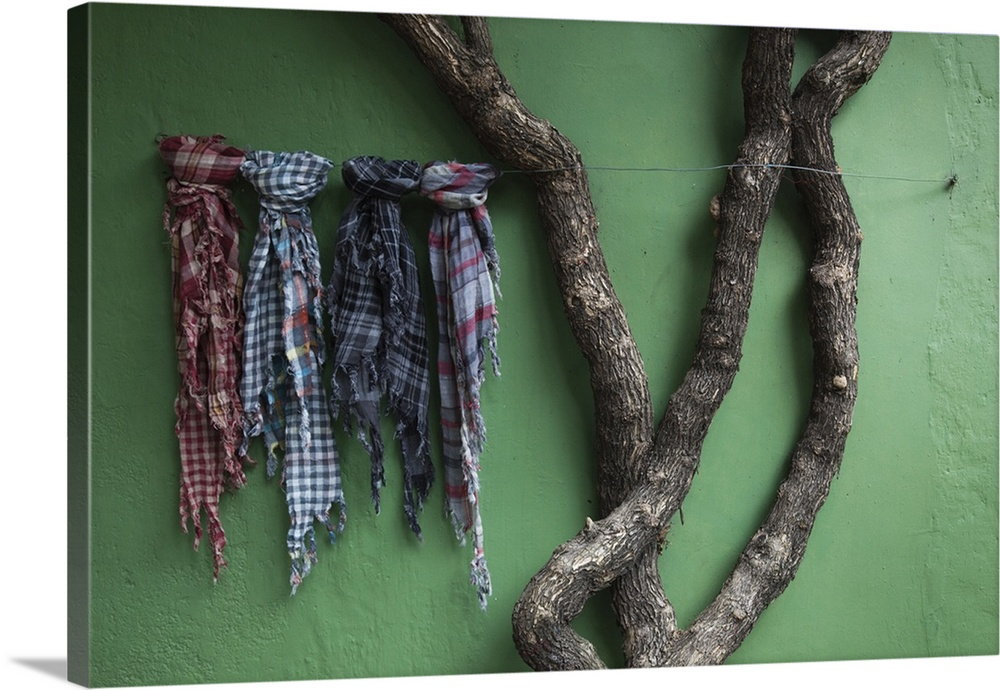 Fabric Samples And Tree Outside A Store, Colonia Del Sacramento, Uruguay.  Canvas