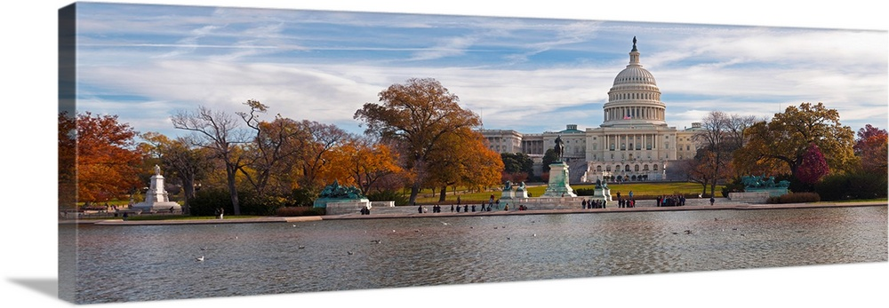 """Washington DC Capitol Wall Art 48/""""x16/"""" Canvas Gallery Wrapped Canvas"""