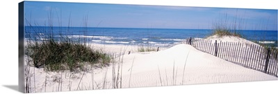 Fence on the beach, Gulf Of Mexico, St. Joseph Peninsula State Park, Florida