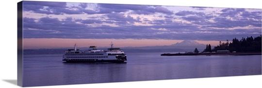 Ferry in the sea, Bainbridge Island, Seattle, Washington State