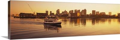 Ferry moving in the sea, Boston Harbor, Boston, Massachusetts