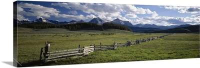Field in front of mountains, Sawtooth Mountains, Idaho