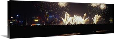 Fireworks at night, Hong Kong, China