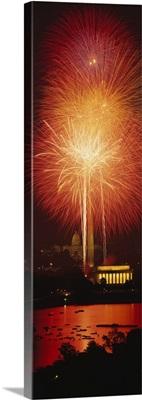 Fireworks display at night, Capitol Building, Lincoln Memorial, Pennsylvania Avenue, Washington DC