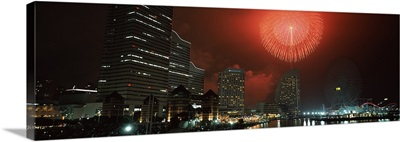 Fireworks display in the sky, Minato Mirai, Yokohama, Kanagawa Prefecture, Japan 2010