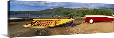 Fishermen repairing boats Mochima Mochima National Park Anzoategui State Sucre State Venezuela