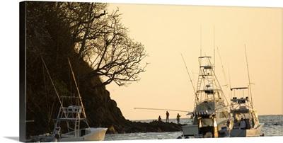 Fishing boats in the sea, Playa Carrillo, Guanacaste, Costa Rica