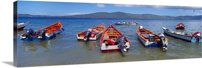 Fishing boats in the sea Santa Fe Mochima National Park Anzoategui State Sucre State Venezuela