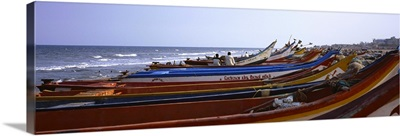Fishing boats on the beach, Marina Beach, Chennai, Tamil Nadu, India