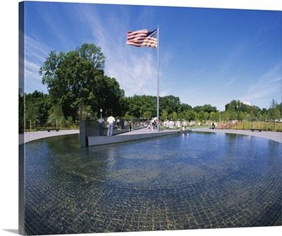 Flag fluttering at a war memorial, Korean War Memorial, Washington DC
