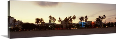Florida, Miami, Ocean Drive, View of the sunset